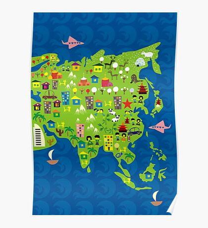 Cartoon Map of Asia Poster