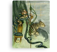Woman With Tiger and Chair Canvas Print