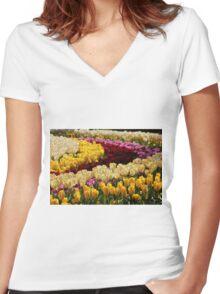 Keukenhof Gardens Tulips Women's Fitted V-Neck T-Shirt