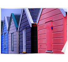 Beach Huts in Southwold. Poster