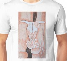 after Georgia O'Keeffe's Cow's Skull with Calico Roses  Unisex T-Shirt
