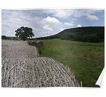 Haybundles in an open field Poster