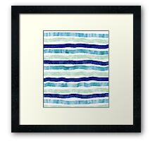watercolor hand drawn stripes navy blue mint Framed Print