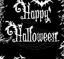 Happy Halloween Rococo Typography Greeting Card ~ Extra Bats Black & White Version by Sam Stormborn Ormandy