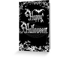Happy Halloween Rococo Typography Greeting Card ~ Extra Bats Black & White Version Greeting Card