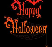 Happy Halloween Rococo Typography Greeting Card ~ Orange Version by Sam Stormborn Ormandy
