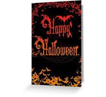 Happy Halloween Rococo Typography Greeting Card ~ Extra Bats Orange Version Greeting Card