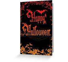 Happy Halloween Rococo Typography Greeting Card ~ Extra Bats Orange Version Greeting Card