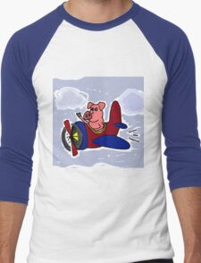 Funny Pig Flying in Red and Blue Airplane Men's Baseball ¾ T-Shirt