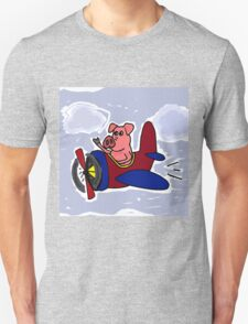 Funny Pig Flying in Red and Blue Airplane T-Shirt
