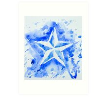 Blue Stars Watercolor Logo Art Print