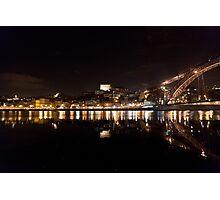 Night at Oporto's Douro Riverside, Portugal Photographic Print