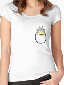 Pocket totoro. Anime Women's Fitted Scoop T-Shirt