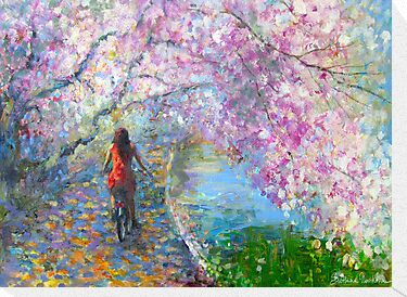 Blossom Alley Landscape woman on a bike Impressionistic Painting Svetlana Novikova by Svetlana  Novikova