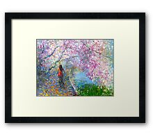 Blossom Alley Landscape woman on a bike Impressionistic Painting Svetlana Novikova Framed Print