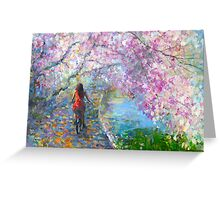 Blossom Alley Landscape woman on a bike Impressionistic Painting Svetlana Novikova Greeting Card