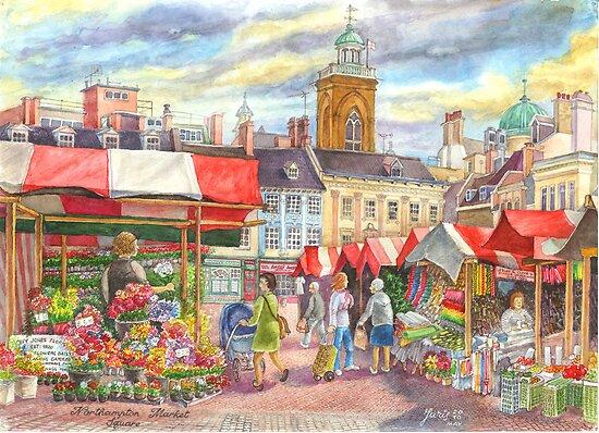 Market place, Northampton, UK by sketchartistjt