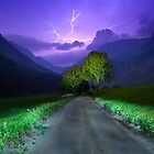 Lightning over the alps entrance by Delfino