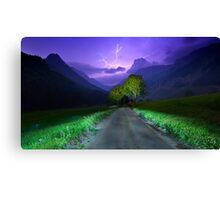Lightning over the alps entrance Canvas Print