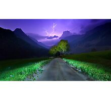 Lightning over the alps entrance Photographic Print
