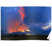 Evening Sky over Gallow Hill, County Durham Poster