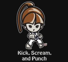 Martial Arts/Karate Girl - Front punch (gray font) Kids Tee