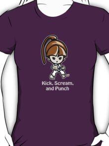 Martial Arts/Karate Girl - Front punch (gray font) T-Shirt