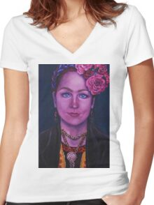 Fridalicious Women's Fitted V-Neck T-Shirt