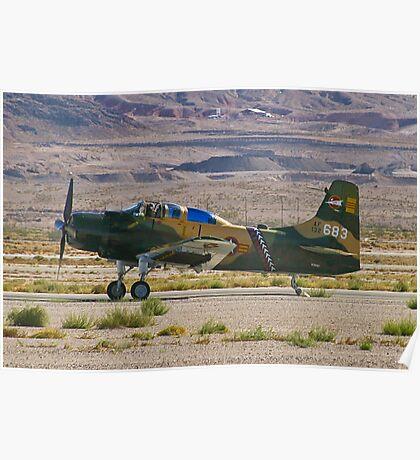 An A-1 Skyraider landing. Poster