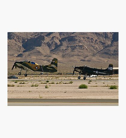 Pair of A-1 Skyraiders take off. Photographic Print