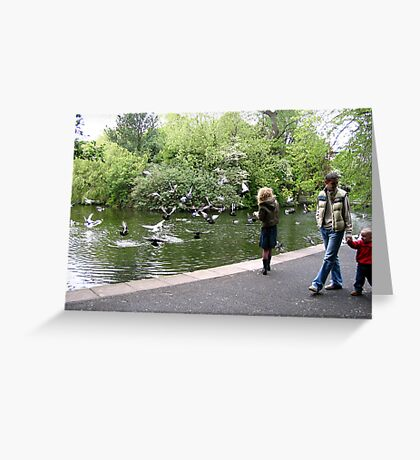 Young girl watching birds fly. Greeting Card