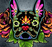 Day of the Dead French Bulldog in Black Sugar Skull Dog by prettyinink