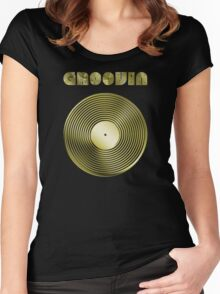 Groovin - Vinyl LP Record & Text - Metallic - Gold Women's Fitted Scoop T-Shirt