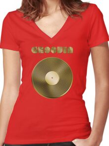 Groovin - Vinyl LP Record & Text - Metallic - Gold Women's Fitted V-Neck T-Shirt