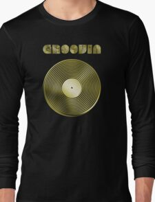 Groovin - Vinyl LP Record & Text - Metallic - Gold Long Sleeve T-Shirt