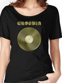 Groovin - Vinyl LP Record & Text - Metallic - Gold Women's Relaxed Fit T-Shirt