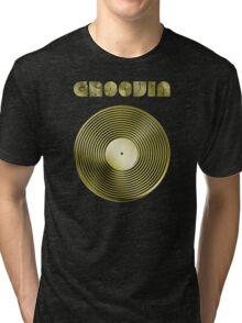 Groovin - Vinyl LP Record & Text - Metallic - Gold Tri-blend T-Shirt