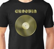 Groovin - Vinyl LP Record & Text - Metallic - Gold Unisex T-Shirt