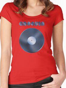 Groovin - Vinyl LP Record & Text - Metallic - Blue Women's Fitted Scoop T-Shirt