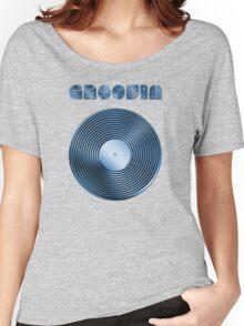 Groovin - Vinyl LP Record & Text - Metallic - Blue Women's Relaxed Fit T-Shirt