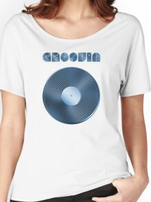 Groovin - Vinyl LP Record & Text - Metallic - Blue Women's Relaxed Fit T-Shirt
