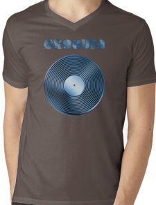 Groovin - Vinyl LP Record & Text - Metallic - Blue Mens V-Neck T-Shirt