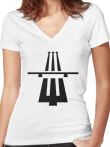 Highway to hell (black) Women's Fitted V-Neck T-Shirt