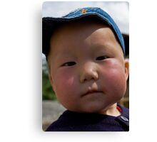 Curious, cute Kyrgyz kid... Canvas Print