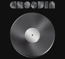 Groovin - Vinyl LP Record & Text - Metallic - Steel Kids Tee