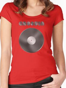 Groovin - Vinyl LP Record & Text - Metallic - Steel Women's Fitted Scoop T-Shirt