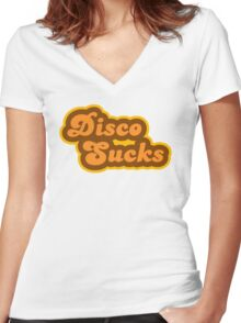 Disco Sucks - Retro 70s - Logo Women's Fitted V-Neck T-Shirt