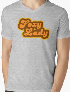 Foxy Lady - Retro 70s - Logo Mens V-Neck T-Shirt