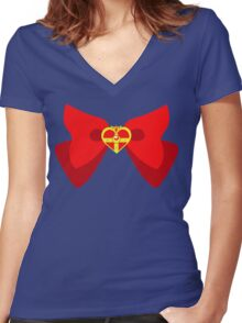 Sailor Moon S Ribbon Women's Fitted V-Neck T-Shirt