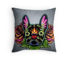 Day of the Dead French Bulldog in Black Sugar Skull Dog Throw Pillow